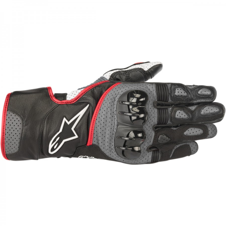 Pirštinės AlpineStar SP-2 V2 PERFORMANCE LEATHER LONG GLOVES BLACK/GRAY/FLO RED