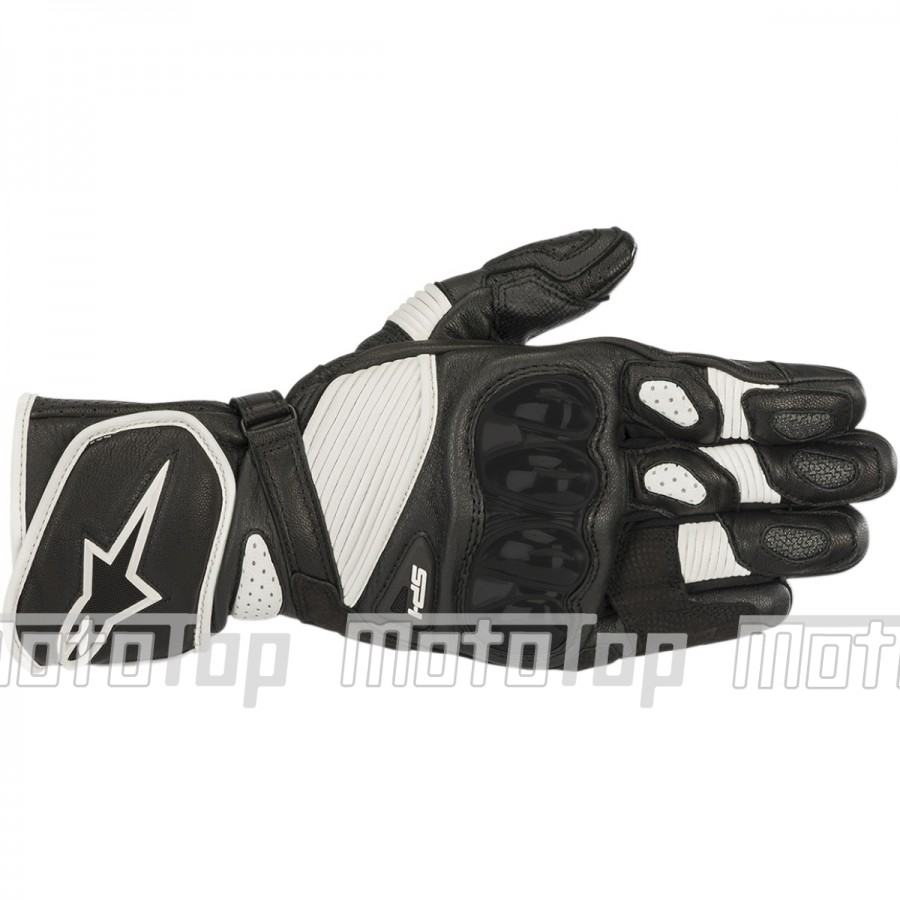 Pirštinės AlpineStar SP-1 V2 PERFORMANCE LEATHER LONG GLOVES BLACK/WHITE