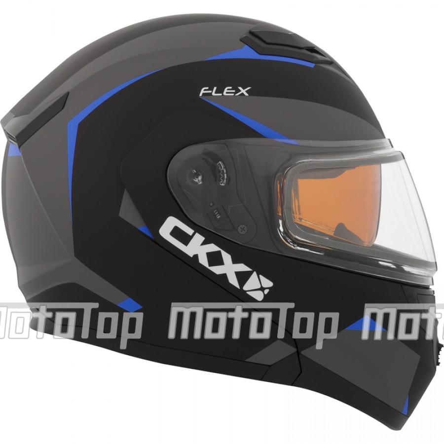 Šalmas CKX Helmet, Flip-Up Flex RSV Control Blue Electrical visor