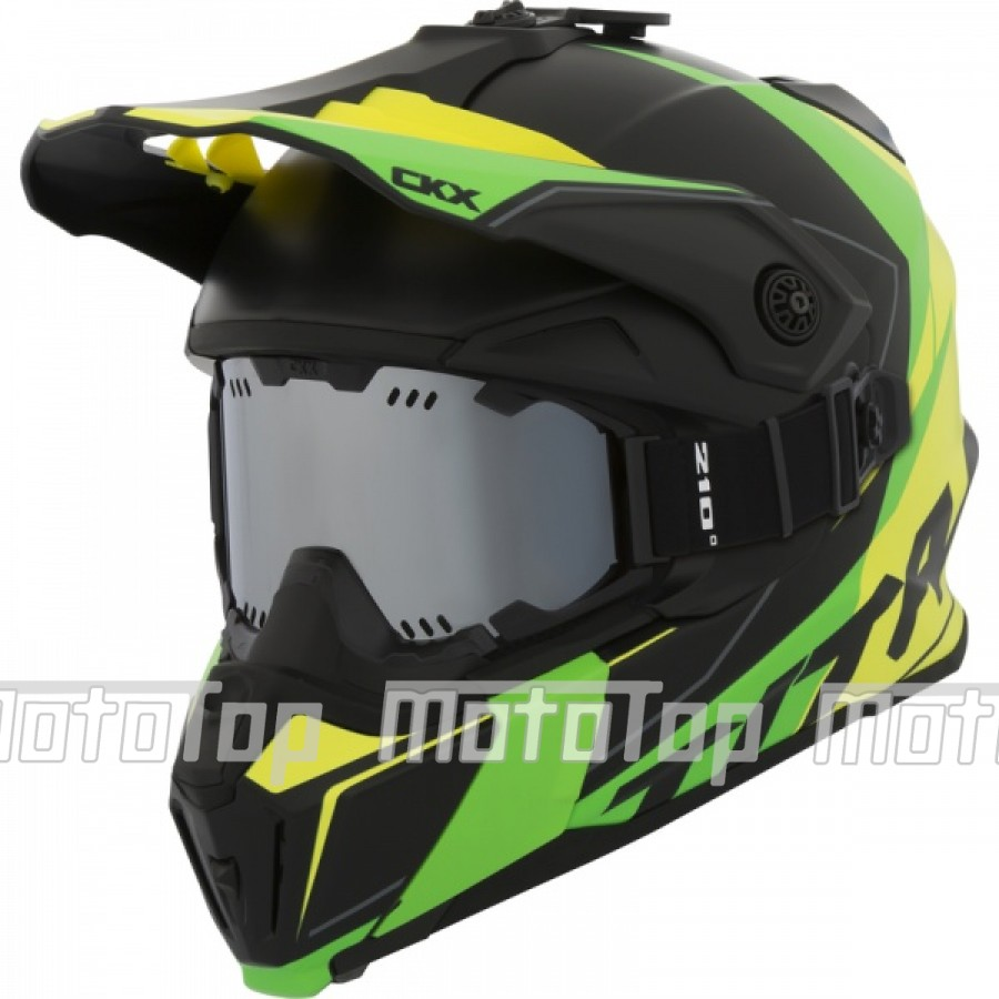 Šalmas su akiniais CKX Helmet Titan Cliff Yellow/Green with goggle
