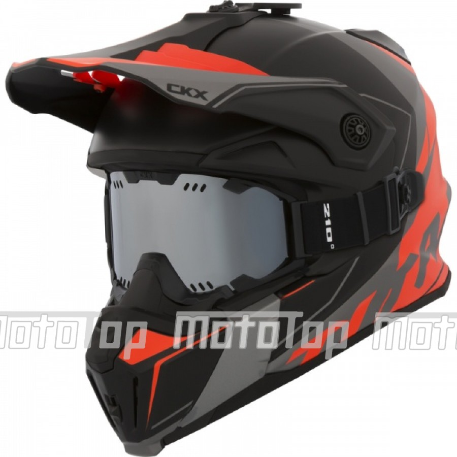 Šalmas su akiniais CKX Helmet Titan Cliff Orange with goggle