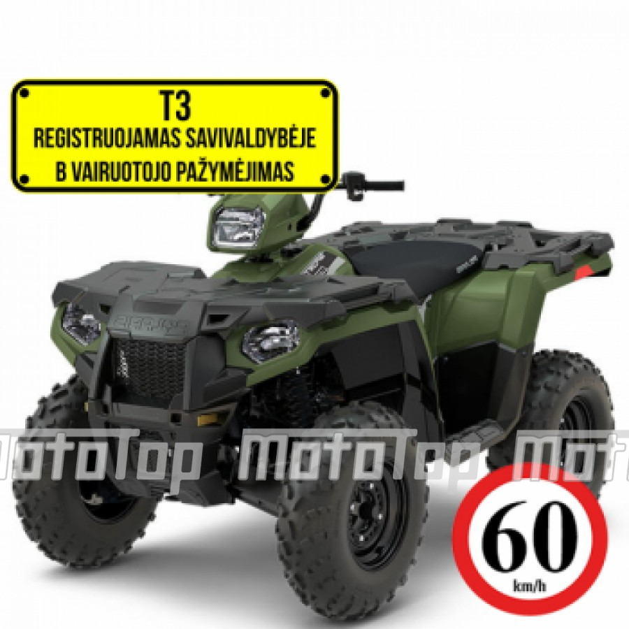 Polaris Sportsman 570 EFI EPS 4x4 Green-white-red 60km/h. T3b keturratis