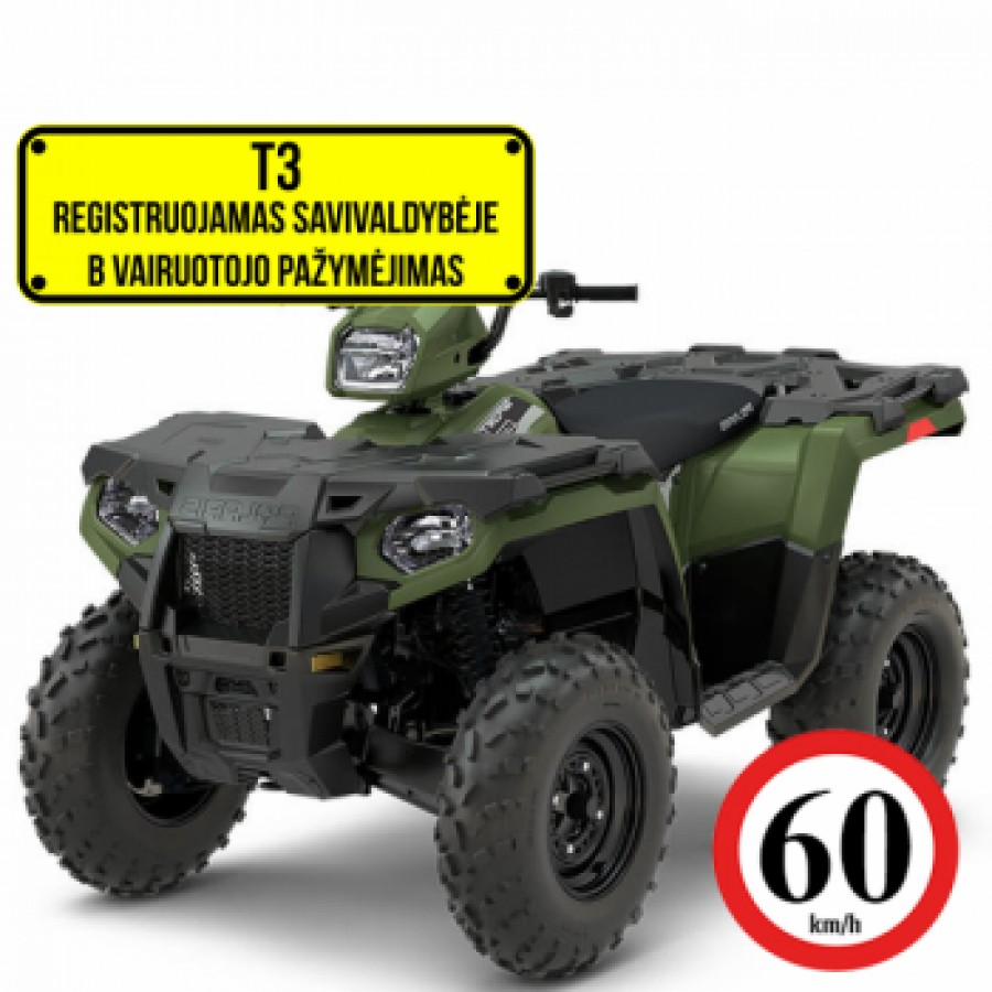 Polaris Sportsman 570 EFI 4x4 Green-white-red 60km/h. T3b keturratis